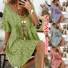 Summer, Plus Size, Sleeve, Dress