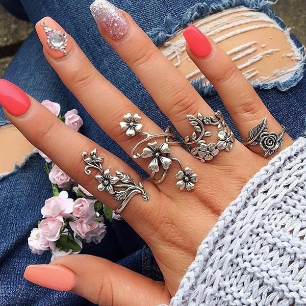 Sterling, Flowers, leaf, Jewelry