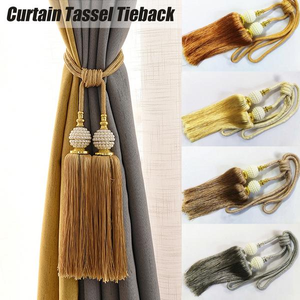 4colors Single Of Curtain Holdbacks Rope Tie Backs Tassel Tiebacks Beaded Ball Decor Wish