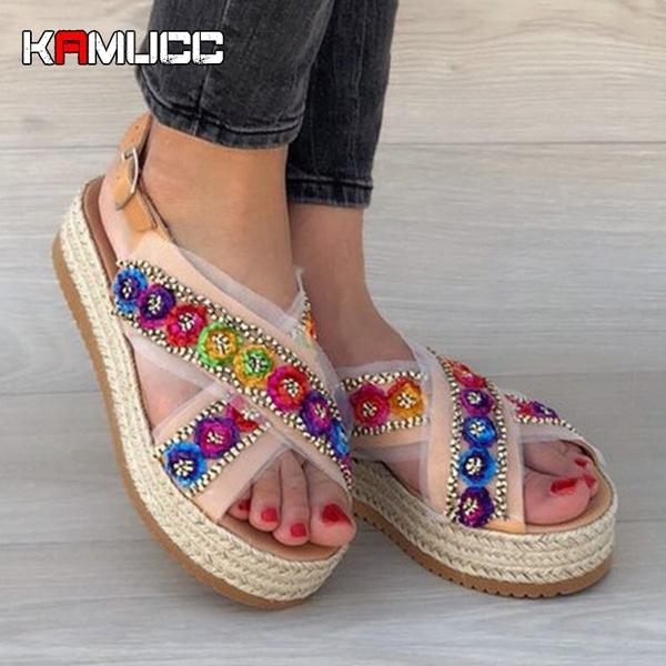 Summer Shoes Womens 2020.2020 Women Platform Sandals Wedges Shoes Pumps High Heels Sandals Summer Flip Flop Platform Sandals Sandalia