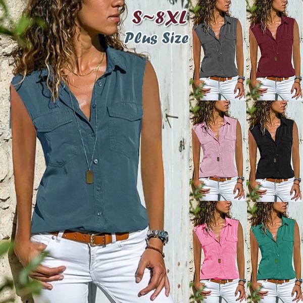 Summer, Plus Size, Deep V-Neck, topsamptshirt