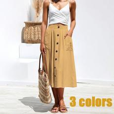 Summer, long skirt, Plus Size, high waist