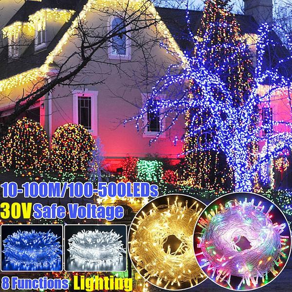 8 Mode 10M 100 LED Xmas Christmas Tree Fairy String Lights Party  Purple UK PLUG