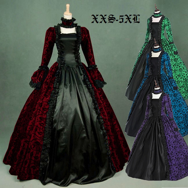 Plus Size XXS-5XL Victorian Gothic Georgian Period Dress Halloween  Masquerade Ball Gown Reenactment Clothing