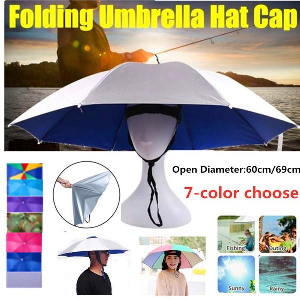 1pc 69cm Umbrella Hat Cap Folding Umbrella Fishing Headwear Handsfree UmbrellaMA