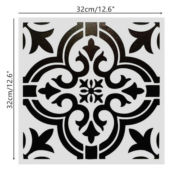 DIY Painting 32*32cm Vintage Pattern Art Stencils Templates For Tile  Furniture Wall Painting Decorative