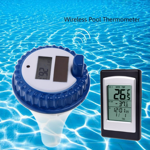 Solar Energy Digital Wireless Swimming Pool Thermometer SPA Floating  Temperature Meter With 3 Channels/Time Alarm/Calendar FAL