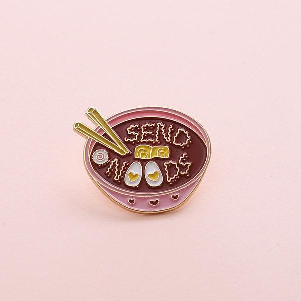 pink, cute, cutejewelry, ramenbowlbrooch