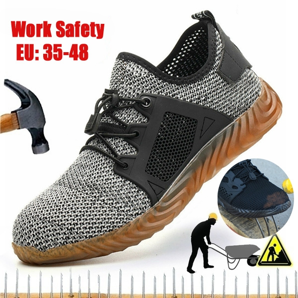 Men/'s Safety Work Shoes Steel Toe Lightweight Boots Indestructible Mesh Sneakers