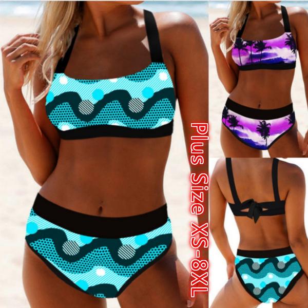 Plus Size, Bikinis Set, Womens Swimsuit, Halter