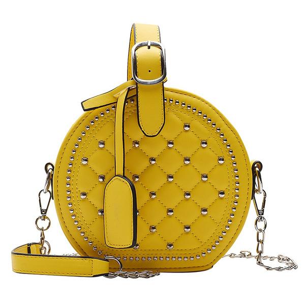 Rivet Round Bags For Women Handbags Women Bags Chains Shoulder Crossbody Bags