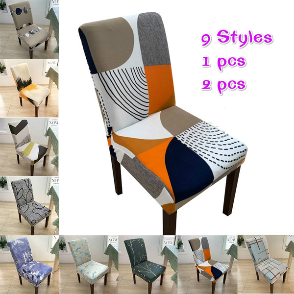 Superb Modern Geometric Elastic Dining Chair Covers Spandex Anti Dirty Kitchen Seat Case Stretch Dining Chair Slipcovers Wedding 1 2Pcs Pdpeps Interior Chair Design Pdpepsorg