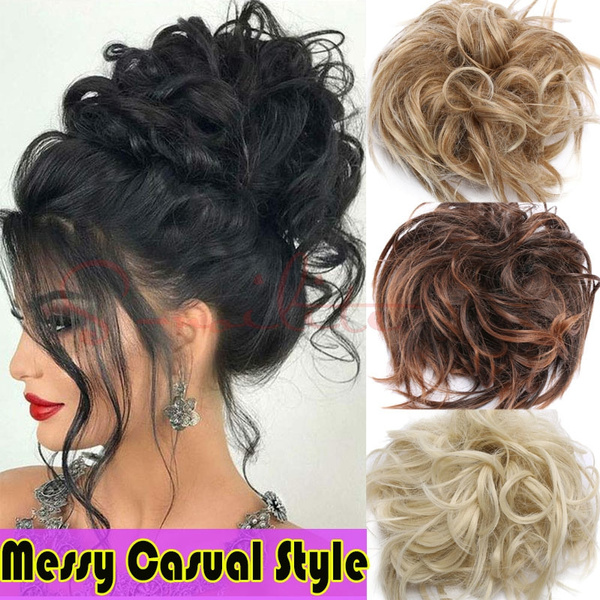 Tousled Updo Messy Bun Hair Piece Scrunchies Synthetic Wavy Bun Extensions  Rubber Band Elastic Scrunchie Chignon Instant Ponytail Hairpiece for Women