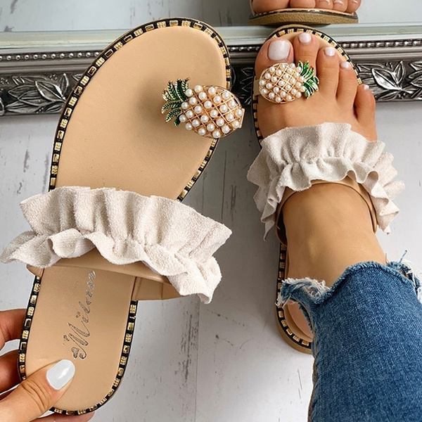 Women Summer Pineapple Toe Flat Slippers Flip Flops Outdoor Sandals