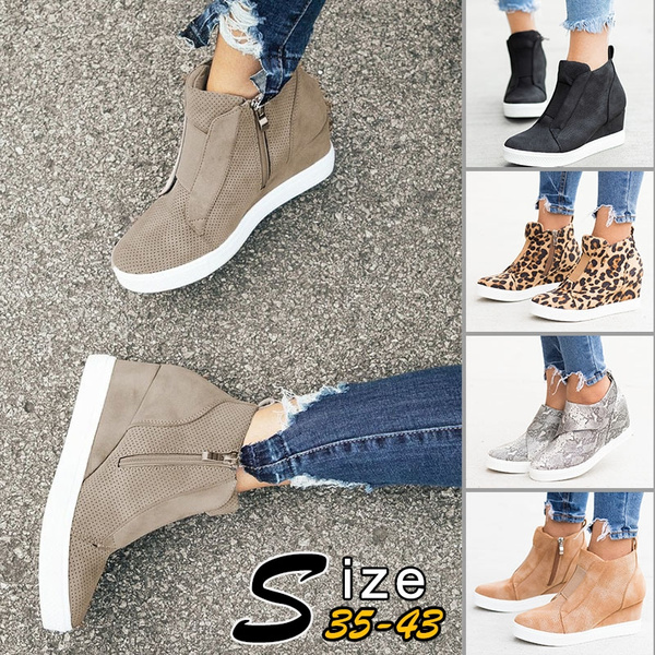 Women/'s Casual Hidden Wedge Heel Boots Zip Side Sneakers Platform Shoes Walking