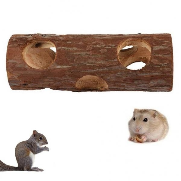 Magical Pet Hamsters Mouses Wood Tunnel Tube Hollow Tree Trunk Teeth  Grinding Chew Toy
