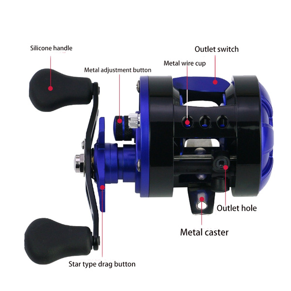 Wish | blue&black  left hand /right hand Drum Type Fishing Line Reels Wheel Casting Fishing Reel   Speed   ratio 5.6 1  Model: 3000/2000