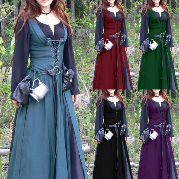 Europe 18th Vogue Classic Vintage Retro Belted Medieval Dress Mediaeval  Renaissance Long Sleeve Floor Length Lace Up Women Retro Tunic Dresses  Cosplay ...