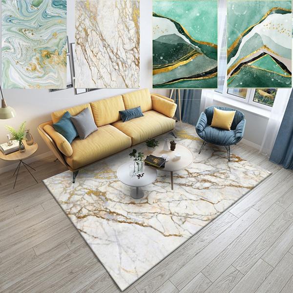 nordic-style-abstract-stone-pattern-light-green-gold-bedroom-living-room-crystal-velvet-floor-mat-carpet by wish