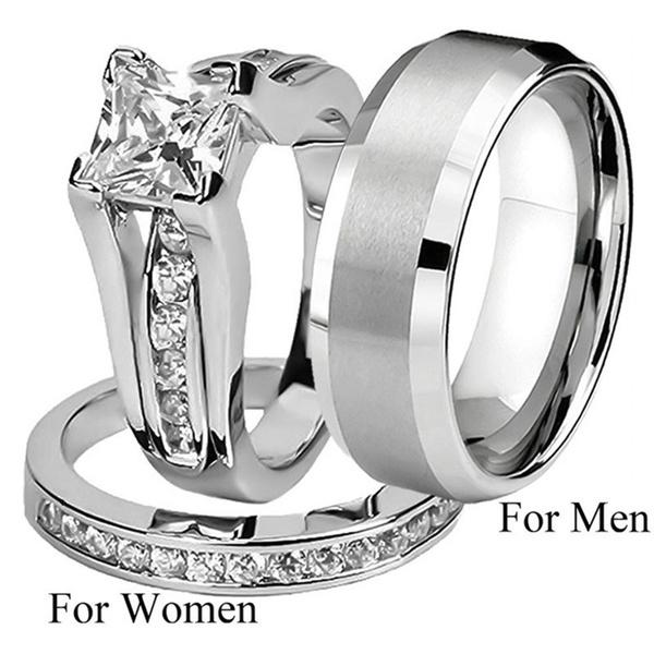 925 Sterling Silver Wedding Ring Women Diamond Rings Men Stainless Steel Ring Size5 11 Geek