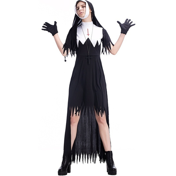 Halloween Maskerad.Adult Women Halloween Scary Zombie Mary Nun Costume Long Black Dress Horror Cosplay Fancy Bloody Corpse Dead Outfit For Girls