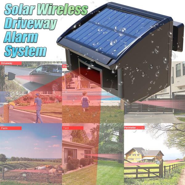Solar Driveway Alarm System 1//4 Mile Long Range Outdoor Motion Sensor Detector