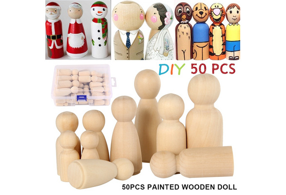 10pcs 35//43//55//65mm Natural Wooden People Peg Dolls Wedding Cake Topper Supply