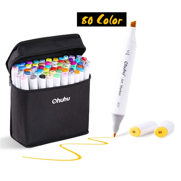 80 Colors Art Markers Set Ohuhu Dual Tips Coloring Marker Pens For Kids Fine And Chisel Tip Alcohol Based Drawing Markers For Sketching Adult Coloring Book Back To School Art Supplies Wish