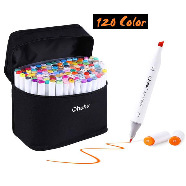 120 Colors Art Markers Set Ohuhu Dual Tips Coloring Marker Pens For Kids Fine And Chisel Tip Alcohol Based Drawing Markers For Sketching Adult