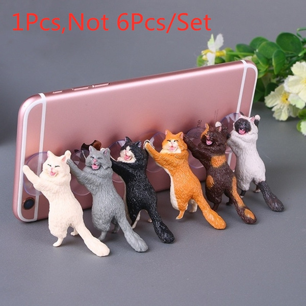 New 1 Pcs Resin Lovely Cartoon Cat Cat Reinforcements Articles Phone Bracket Cellphone Stand Universal Stand Holder  by Wish