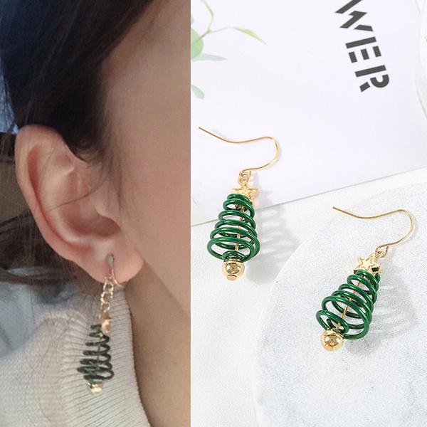 New Christmas Earrings Tree Earings Dangle Earring Plating Gold Party Earrings