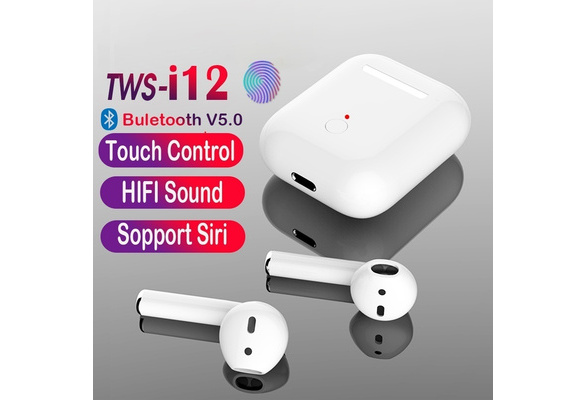 New 2019 i12 TWS Wireless Bluetooth 5 0 Smart Touch Earbuds Super Bass  Stereo Sports Headphone With Charging Box for Android IOS