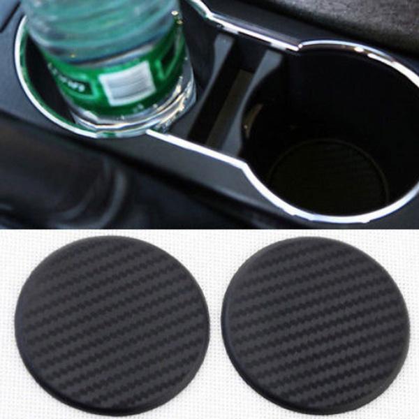 Auto  Black Water Cup Slot  Carbon Fiber Look  Car Non-Slip Mat  Pad
