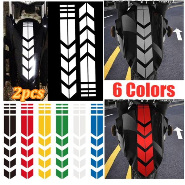 Car Motorcycle Reflective Arrow Decals Rim Stripe Wheel On Fender Tape Stickers
