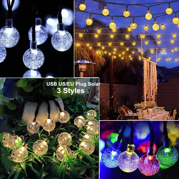 20led 30led Solar Globe String Lights Outdoor Crystal Ball Christmas Decoration Light Waterproof Patio Decorative For Xmas Tree Garden