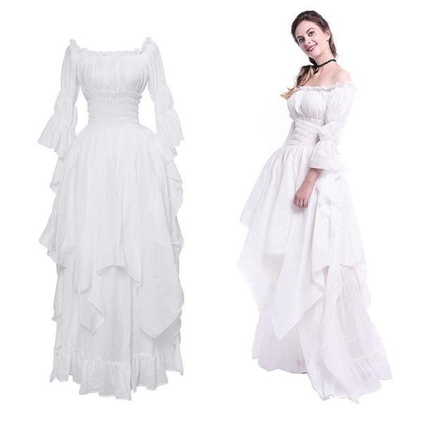 2019 Women Medieval Dress Renaissance Vintage Style Gothic Dress Floor  Length Women Cosplay Dresses Without Belt Medieval Dress Gown Plus Size  Maxi ...
