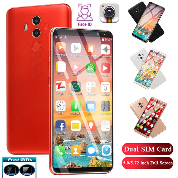 M10plus plastic model phone / 5 0 inch/5 72 inch three models to choose  from with face recognition support dual card dual standby MTK6580M Quad  Core
