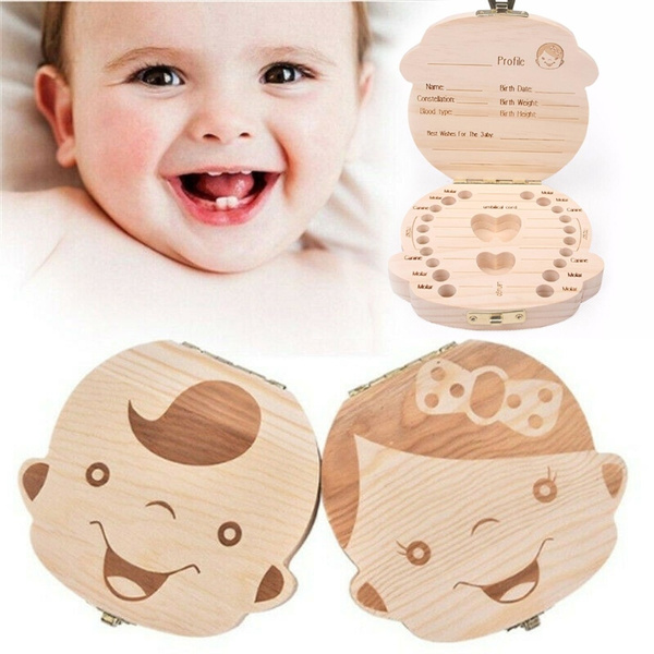 Kids Boy Girl Tooth Box Wooden Storage Organizer Baby Milk Teeth Collecting