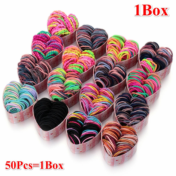 50pcs Box Girls Colorful Basic Elastic Hair Bands Ponytail Holder