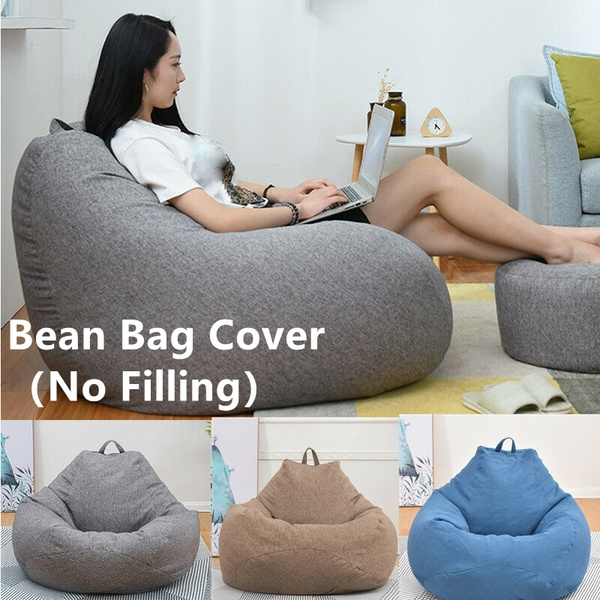 3 Sizes Large Bean Bag Sofa Cover Lounger Chair Sofa Living Room Furniture  Without Filler Beanbag Bed for Adults Kids No Filling