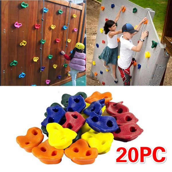 20 Plastic Climbing Holds Grips Kids Rock Climbing Wall Stones w// Screws Indoor