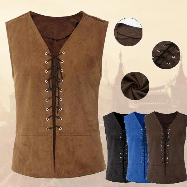 Men Vintage Medieval Vest Sleeveless Costume Waistcoat Steampunk Cosplay Shirt