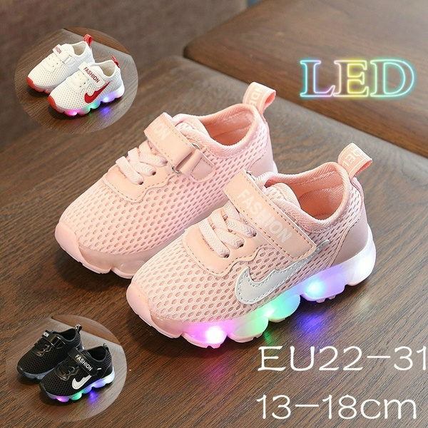Flash LED  Baby Toddler Kids Light Up Trainers Running Lace Up Shoes Breathable