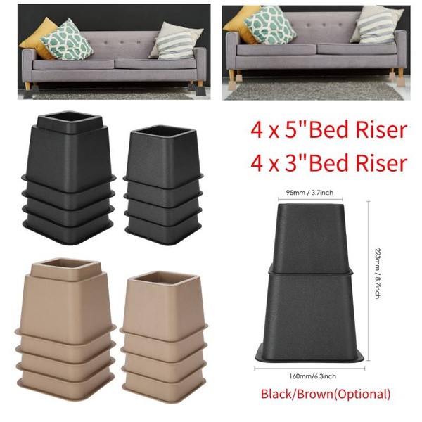 8 Pieces Square Bed Risers Table