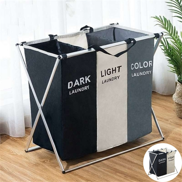 . Dirty Clothes Laundry Storage Basket 2 3 Grids Organizer Basket Bathroom  Laundry Hamper Home Accessories