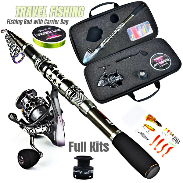 Carbon Fiber Telescopic Fishing Rod /& Spinning Reel Combo Kit With Fishing Line