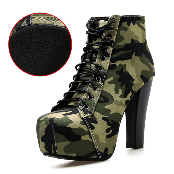 check out cabbf 46b91 Military Army Camo Camouflage Print Ankle Boots Women Platform Chunky Block  High Heel Short Boots Bootie Woman Shoes Plus Size