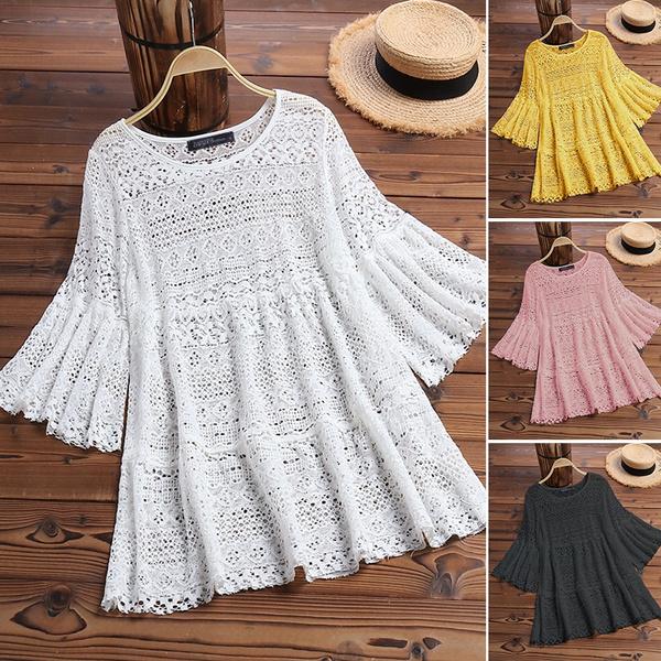 blouse, womens top, crochet, lacefloral