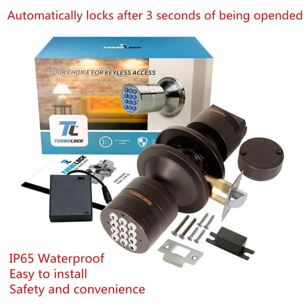 TurboLock Keyless Electronic Keypad Entry Door Lock Smart Knob Kit with Autom...