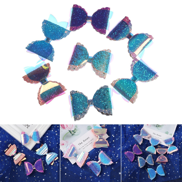 Rainbow Color Bow knot Garment Appliques Hair Clip Accessories Sequins Patches